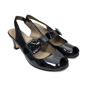 Anyi Lu Black Patent Leather Open Toe Mary Janes